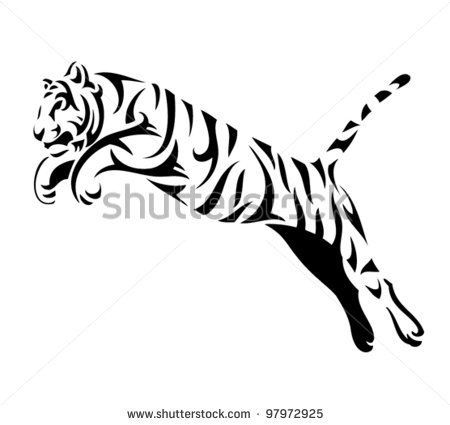 Tiger clipart leaping picture black and white library Tribal tiger jump - vector tattoo | mix | Tribal tiger ... picture black and white library
