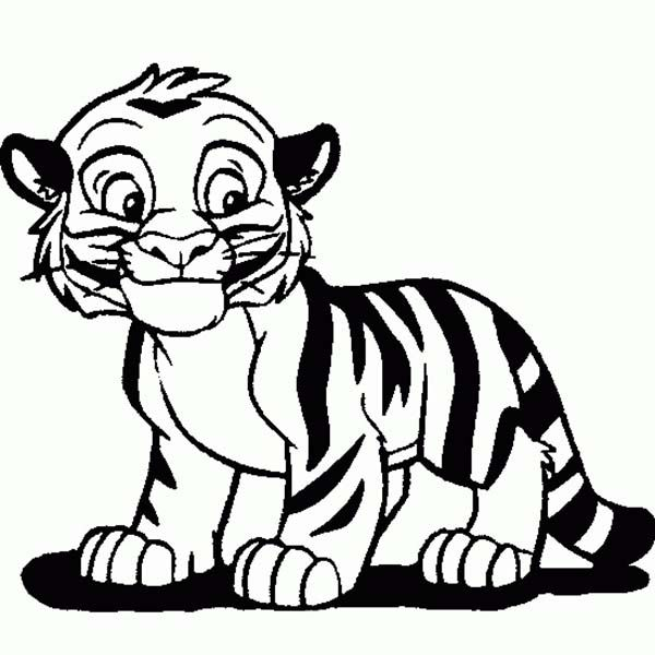 Tiger cub face clipart outline png black and white stock Cartoon Tiger Drawing | Cute Tiger Cub in Cartoon Coloring ... png black and white stock