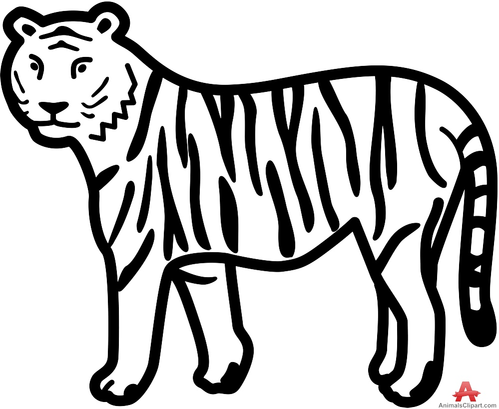 Tiger drawing clipart clipart black and white Tiger Pictures Drawing at GetDrawings.com | Free for ... clipart black and white