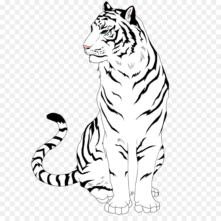 Tiger drawing clipart svg black and white library Download Free png Wolf And Tiger Drawing Line Art Drawing ... svg black and white library