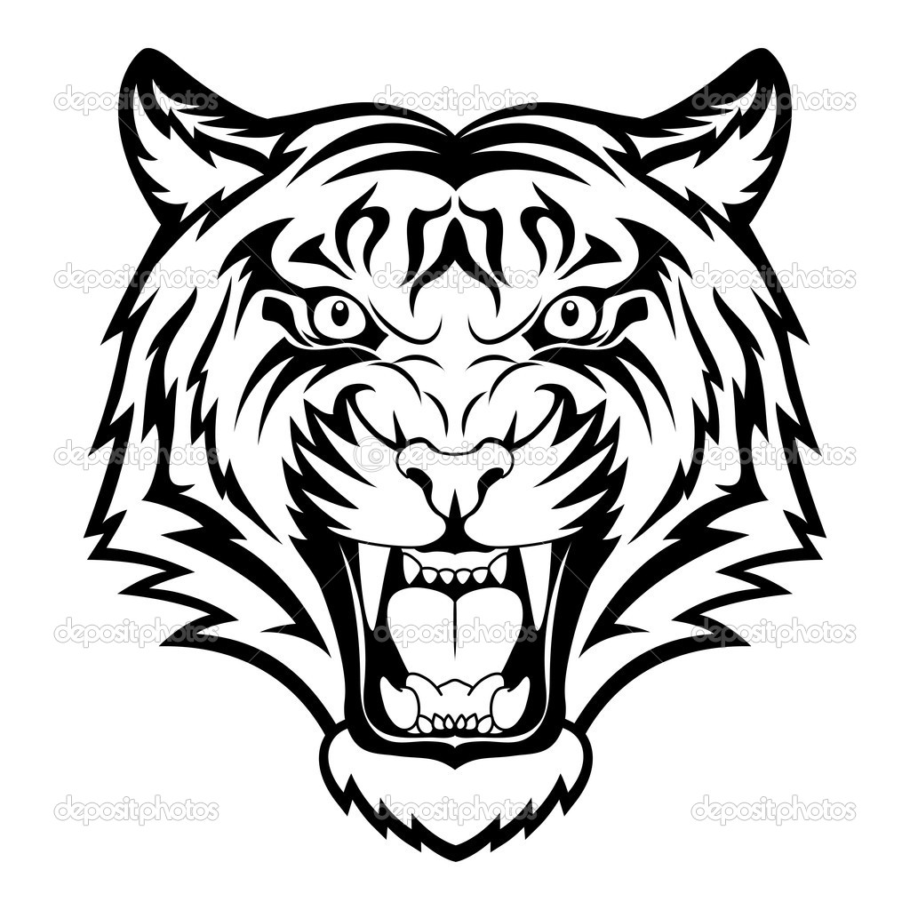 Tiger face clipart black and white clip library stock Tiger Face Clipart Black | Clipart Panda - Free Clipart Images clip library stock