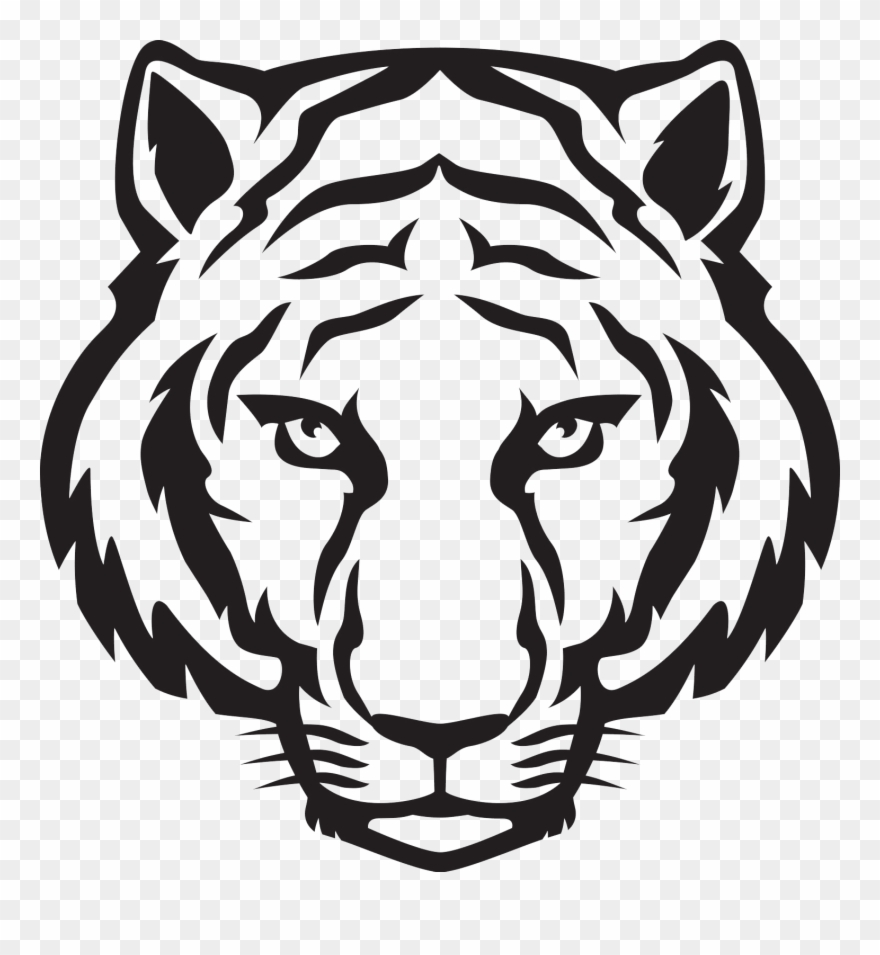 Tiger face clipart black and white vector black and white Tiger Face Png - Tiger Easy To Draw Clipart (#452887 ... vector black and white