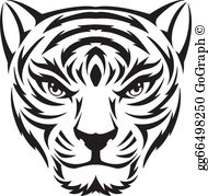 Tiger face clipart black and white vector royalty free download Tiger Face Clip Art - Royalty Free - GoGraph vector royalty free download