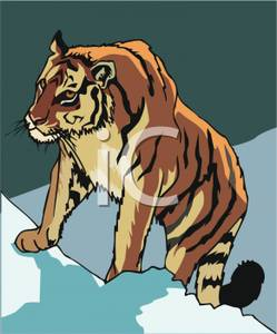 Tiger on a rock clipart banner black and white A Tiger Climbing a Rock - Royalty Free Clipart Picture banner black and white