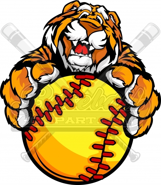 Tiger softball clipart clipart library stock Tiger Fastpitch Softball Clipart with his Paws on a Softball ... clipart library stock