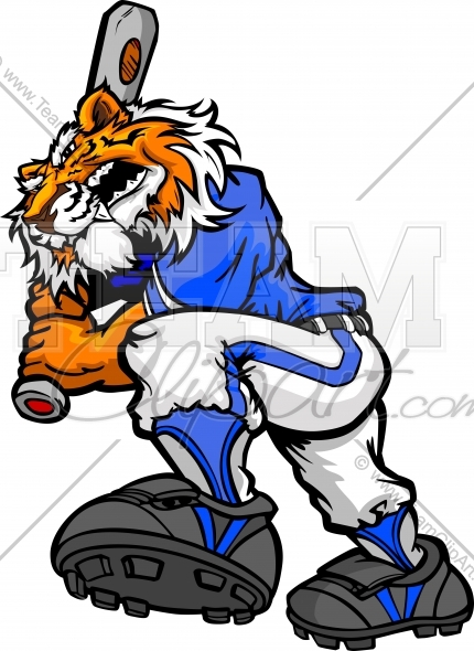 Tiger softball clipart clip art library download Tiger Baseball Batter Clipart and More Baseball Mascots. clip art library download