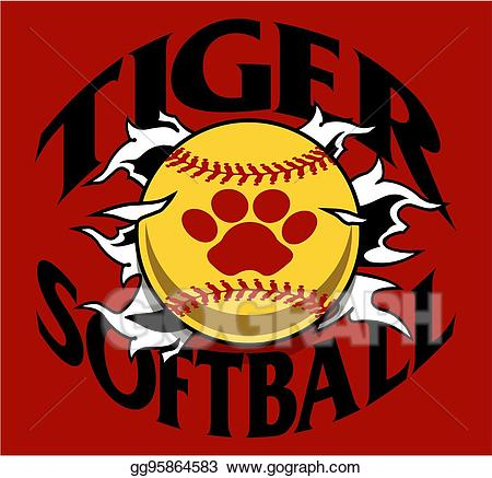 Tiger softball clipart graphic free Vector Art - Tiger softball. EPS clipart gg95864583 - GoGraph graphic free