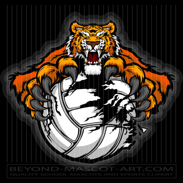 Tiger volleyball clipart clip freeuse Volleyball Tiger Clip Art - Claws Ripping Ball clip freeuse