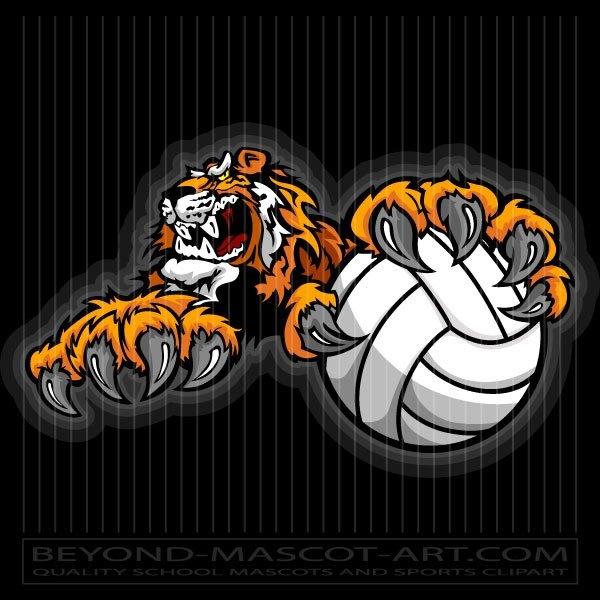 Tiger volleyball clipart svg freeuse library Tiger Volleyball Mascot svg freeuse library