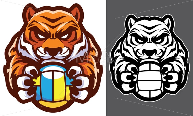 Tiger volleyball clipart royalty free download Tiger Volleyball Mascot royalty free download