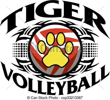 Tiger volleyball clipart jpg stock Vector - tiger volleyball - stock illustration, royalty free ... jpg stock