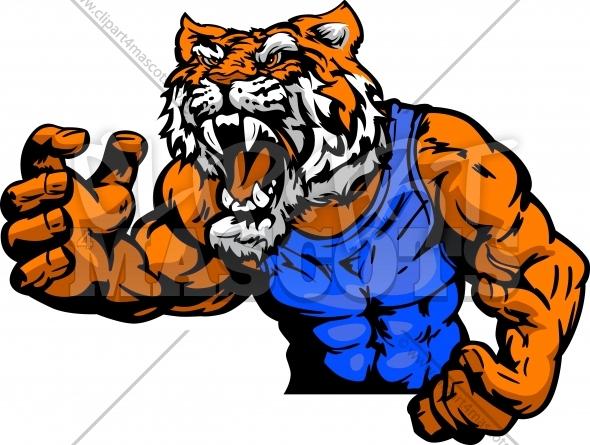 Tiger wrestling clipart