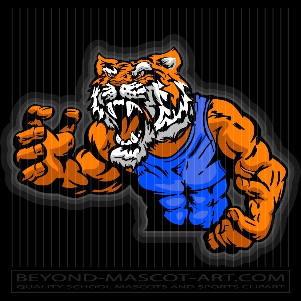 Tiger wrestling clipart vector library library Tiger in Wrestling Pose vector library library