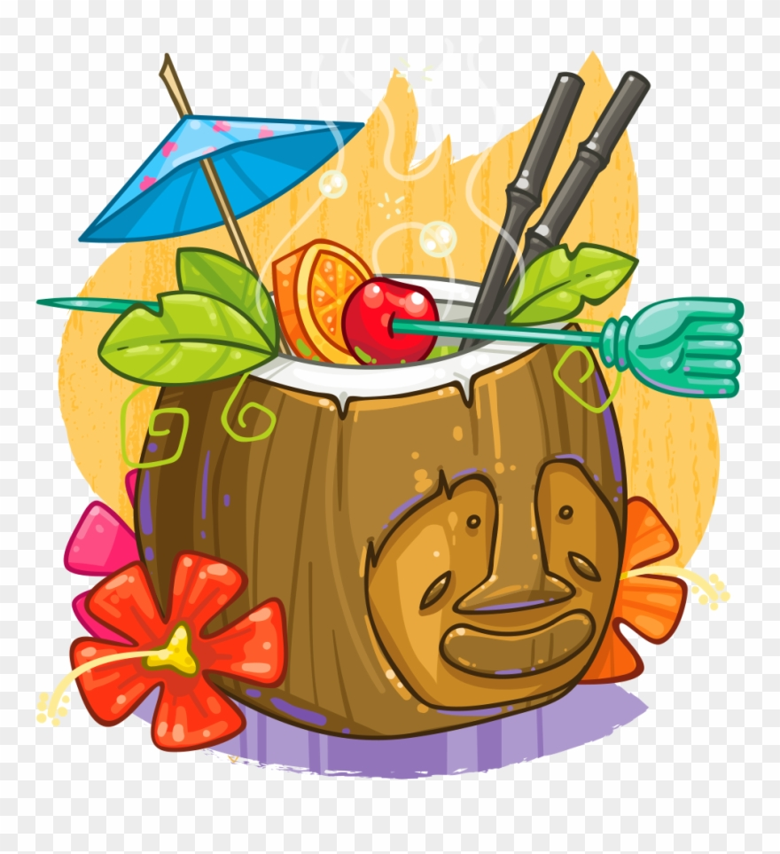 Tiki background clipart picture transparent download Coconut Clipart Tiki - Coconut Cocktail Png Transparent Png ... picture transparent download