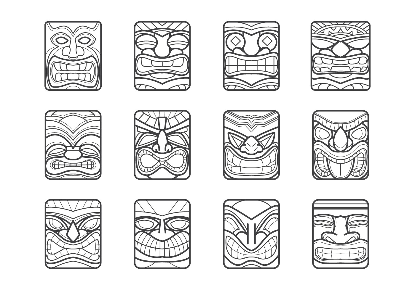 Tiki bar black and white vector clipart vector transparent Tiki Free Vector Art - (2,042 Free Downloads) vector transparent
