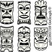 Tiki clipart black and white svg royalty free stock Tiki God Clip Art - Royalty Free - GoGraph svg royalty free stock