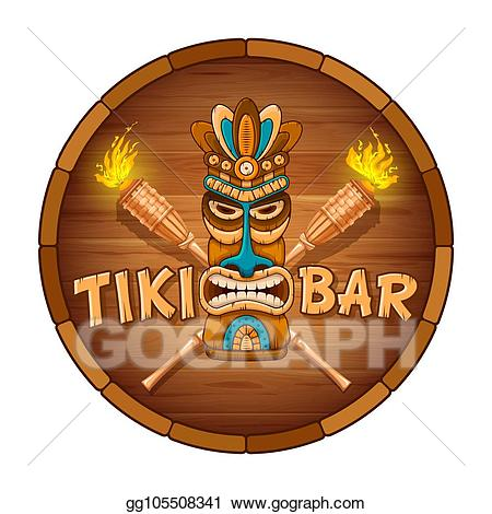 Tiki face clipart jpg royalty free download Vector Art - Wooden tiki mask and signboard of bar. Clipart ... jpg royalty free download