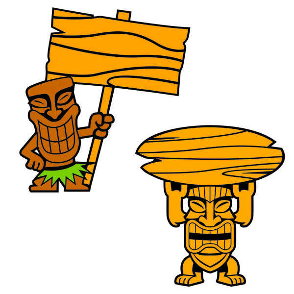 Tiki man clipart silhouette graphic black and white Pin by CuttableDesigns on Cities and States | Tiki statues ... graphic black and white