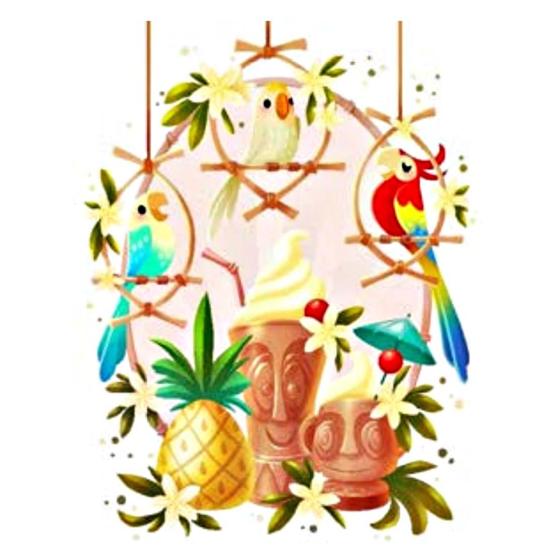 Tiki room clipart free stock Disney Postcard - Happy Pineapple Song by Eunjung June Kim free stock