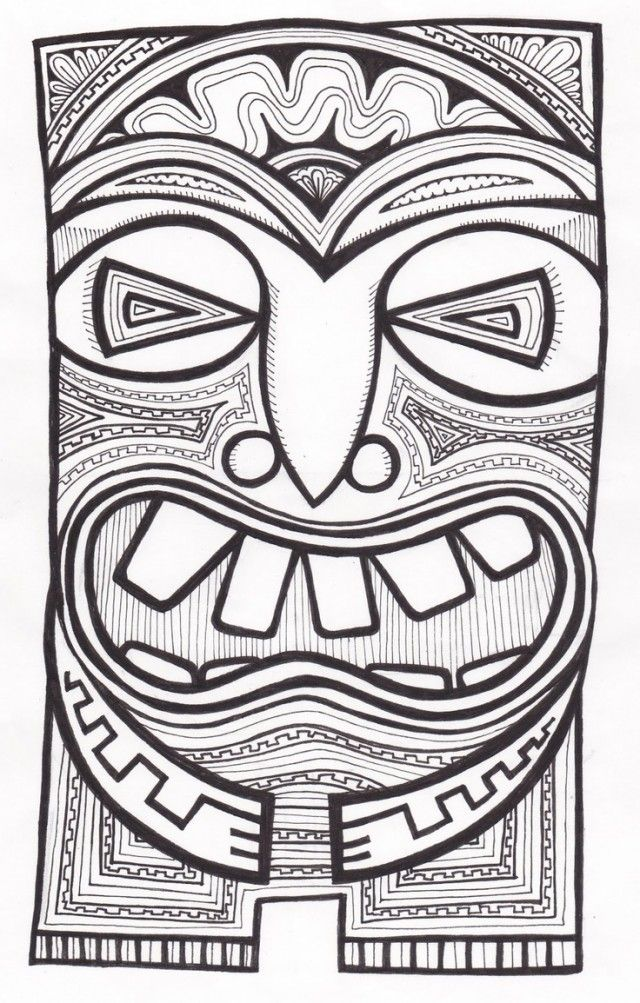 Tiki totem faces black and white clipart banner freeuse Tiki Mask Template - Cliparts. | Art Education | Tiki mask ... banner freeuse
