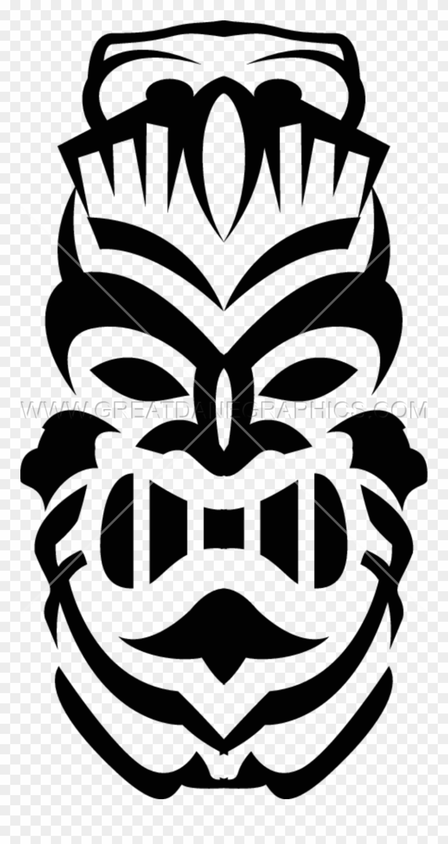 Tiki totem faces black and white clipart clip black and white Stencil Totem Transprent - Tiki Clip Art Black And White ... clip black and white