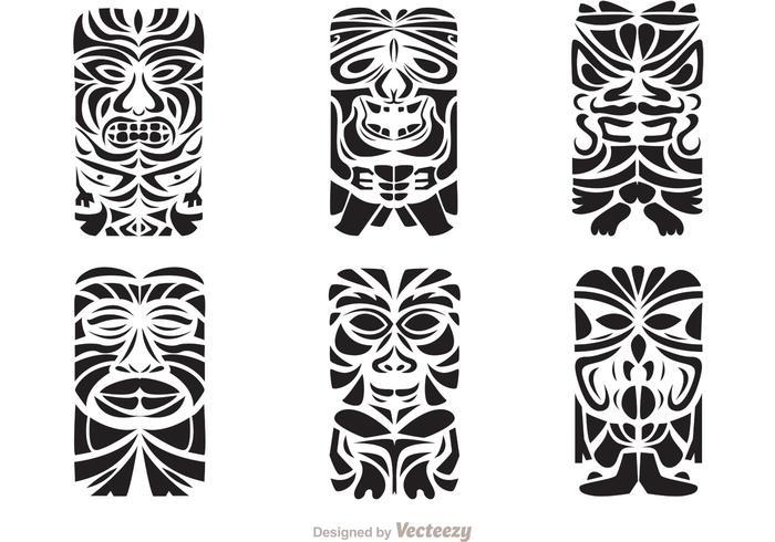 Tiki totem faces black and white clipart banner transparent Tiki Totem Hawaiian Tribal Vectors - Download Free Vectors ... banner transparent