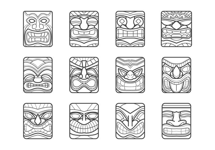 Tiki totem faces black and white clipart banner freeuse download Hawaii Tiki Mask Vector Pack - Download Free Vectors ... banner freeuse download