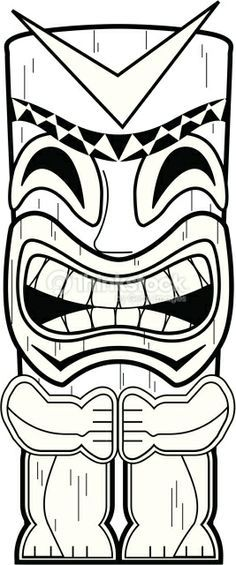 Tiki totems coloring clipart clip art freeuse Tiki Totem Pole Coloring Pages | Appetizers to makes in 2019 ... clip art freeuse
