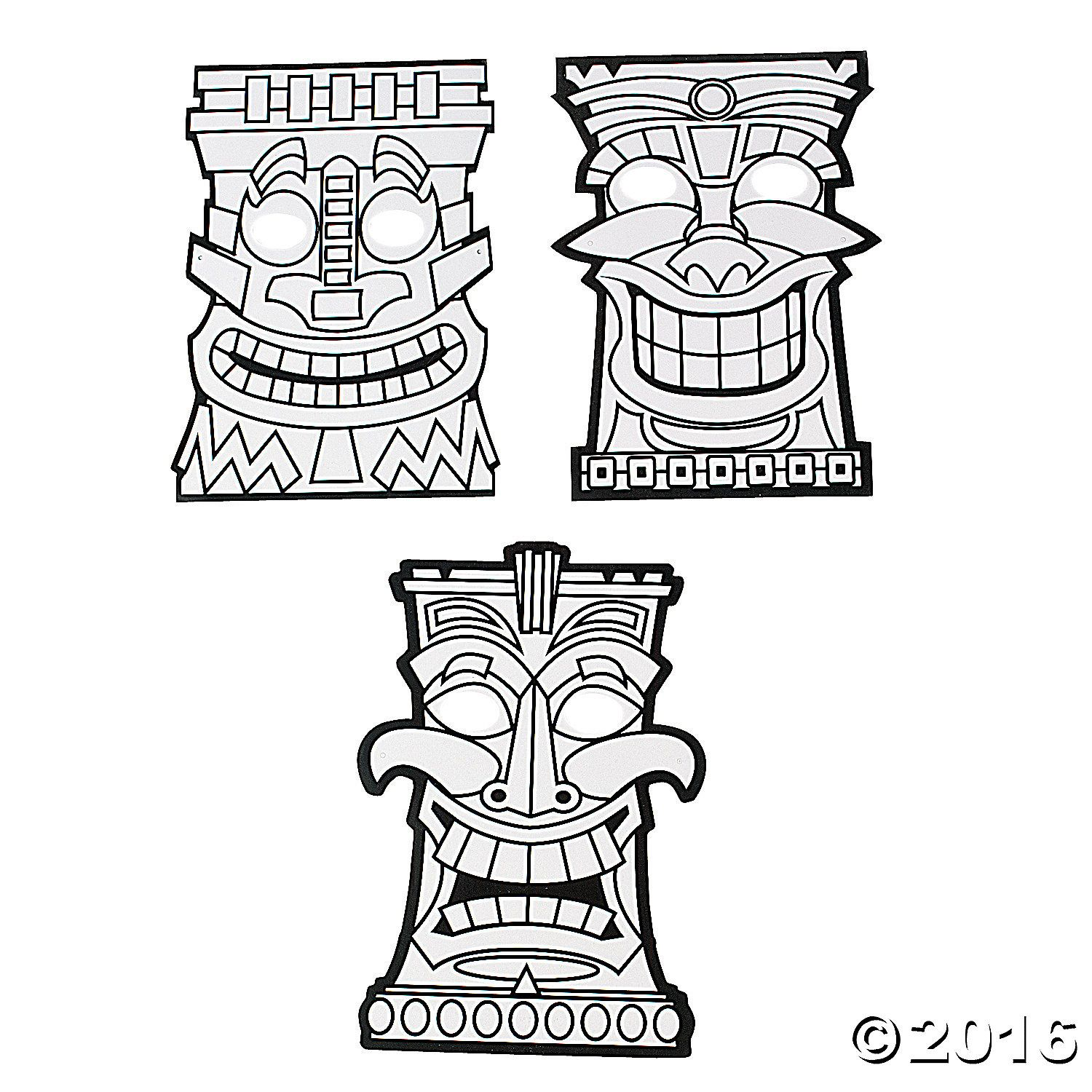 Tiki totems coloring clipart clip art black and white stock Tiki Mask Coloring Pages | tiki coloring pages | Tiki mask ... clip art black and white stock