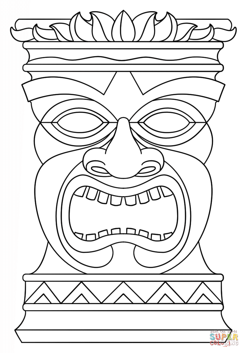 Tiki totems coloring clipart picture free Tiki Totem Mask coloring page | Free Printable Coloring Pages picture free
