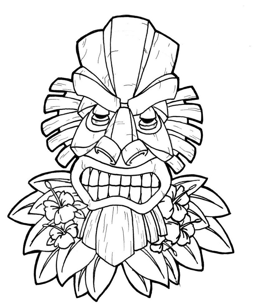 Tiki totems coloring clipart svg black and white download Images For > Tiki Face Coloring Page | Tiki party | Tiki ... svg black and white download