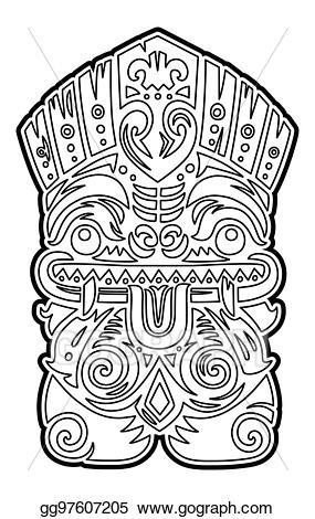 Tiki totems coloring clipart black and white Vector Illustration - Polynesian tiki totem vector idol mask ... black and white