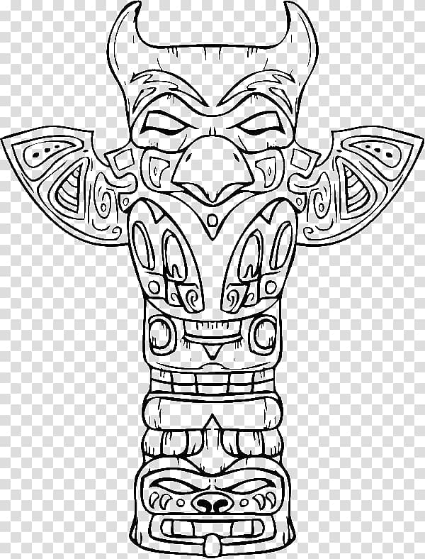 Tiki totems coloring clipart image library library Totem pole Drawing Coloring book, pine branch coloring page ... image library library