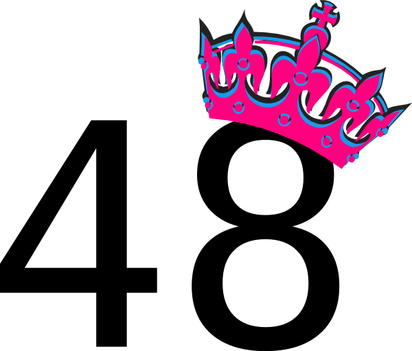 Tilted crown clipart jpg black and white library Pink Tilted Tiara And Number 48 Clip Art at Clker.com - vector clip ... jpg black and white library