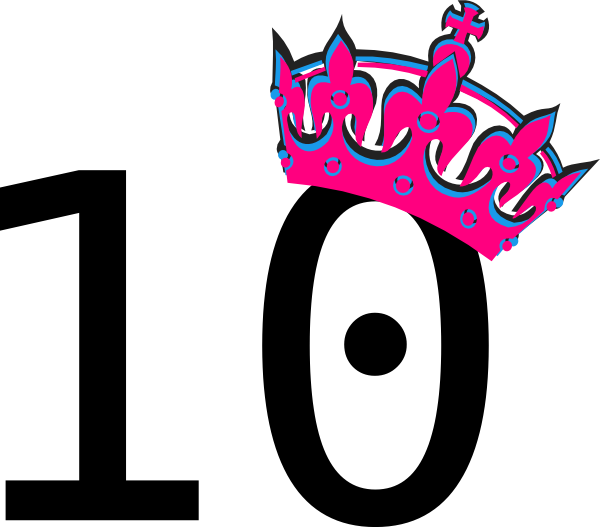 Tilted princess crown clipart black and white library Pink Tilted Tiara And Number 10 Clip Art at Clker.com - vector clip ... black and white library