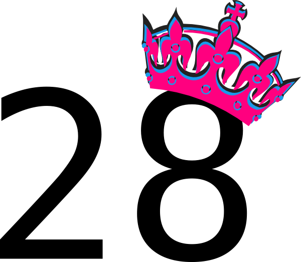 Tilted princess crown clipart svg black and white library Pink Tilted Tiara And Number 28 Clip Art at Clker.com - vector clip ... svg black and white library