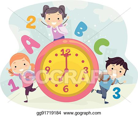 Time for kids clipart vector royalty free Vector Illustration - Stickman kids school time. EPS Clipart ... vector royalty free