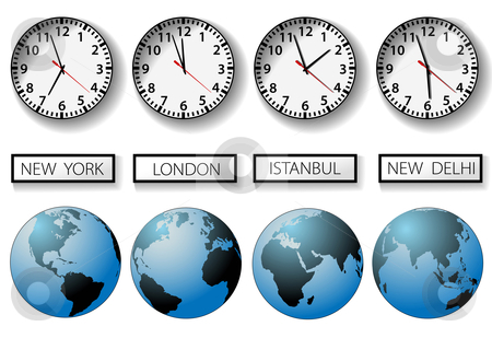 World clocks clipart clipart stock World city time zone clocks and globes stock vector clipart stock