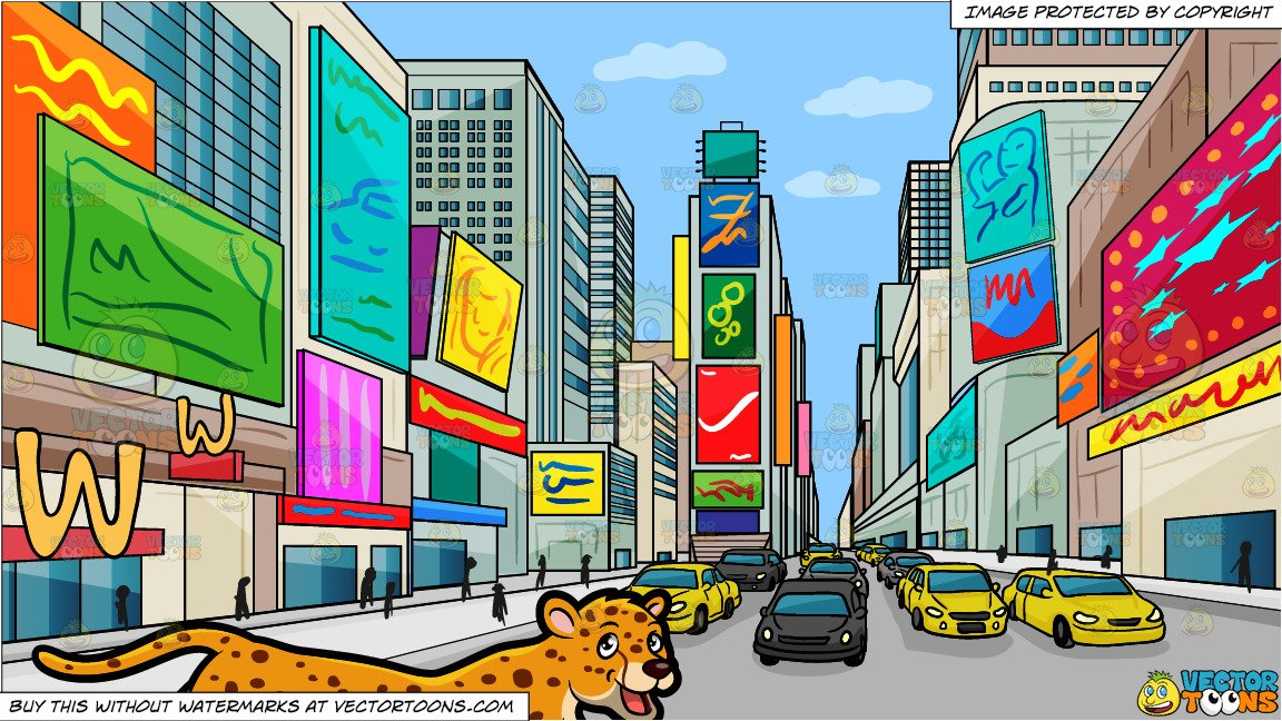 Times square clipart banner transparent stock A Cheetah and New York Times Square During The Day Background banner transparent stock