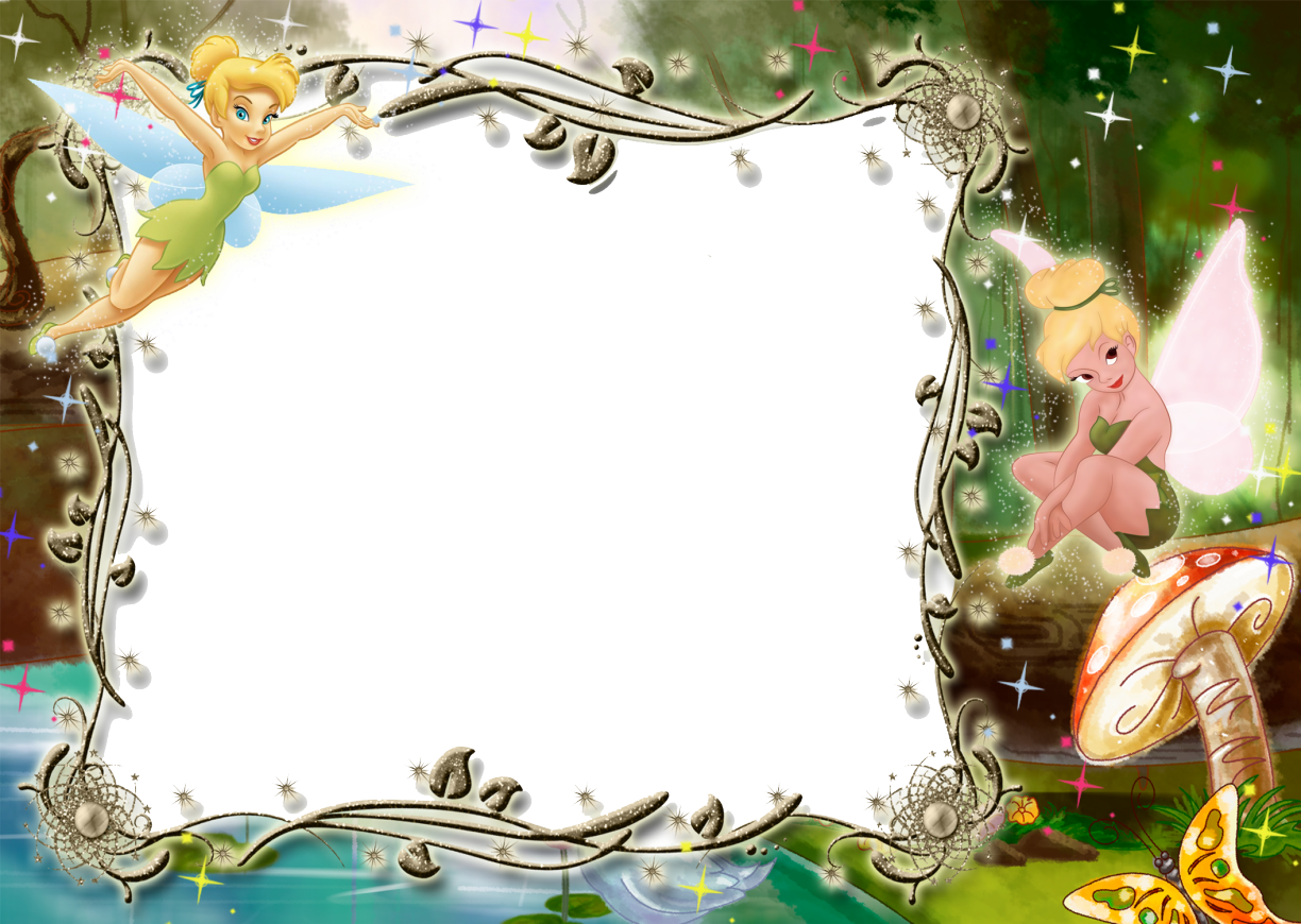 Tinkerbell clipart border image free download Kids Transparent Photo Frame with Tinkerbell | Gallery ... image free download