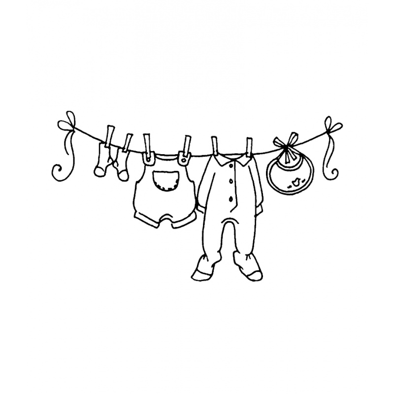 Tiny baby clothes on a clothesline clipart png library Carolee Jones Wood Mounted Stamp - Baby Clothesline J2-977 png library
