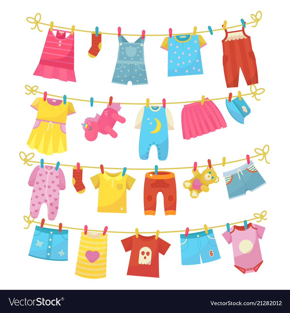 Tiny baby clothes on a clothesline clipart vector library Children clothes on rope vector library