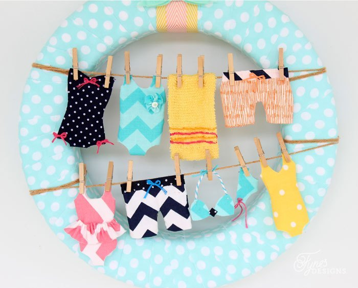 Tiny baby clothes on a clothesline clipart jpg black and white download Summer Wreath Idea- Swimsuits on the Clothesline | FYNES DESIGNS jpg black and white download