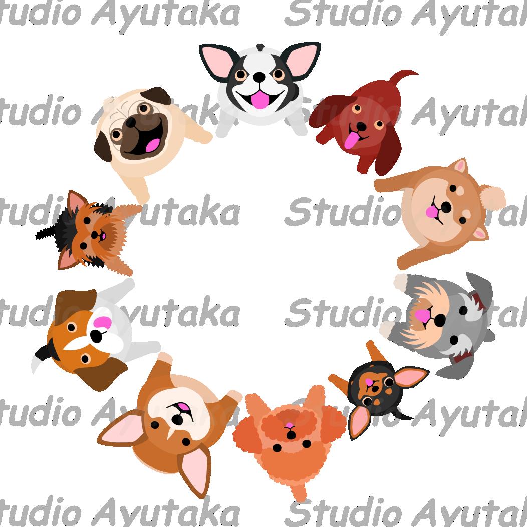 Tiny dog clipart jpg library stock sitting small dogs looking up circle – Studio Ayutaka Store | Pug ... jpg library stock