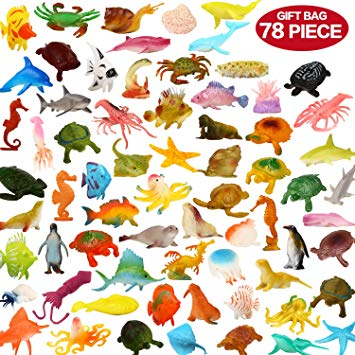 Tiny sea creatures clipart banner freeuse download Ocean Sea Animals, 78 Piece Mini Sea Life Creatures Toys Set, ValeforToy  Plastic Underwater Sea Animals Learning Toys For Boys Girls Kids Toddlers  ... banner freeuse download