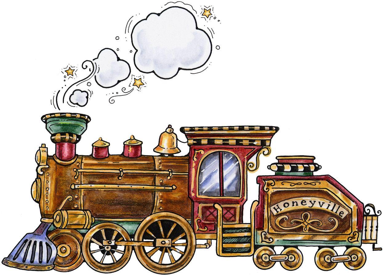Tiny train clipart banner colorful folk art train illustration | decoupage,mixmedia ... banner