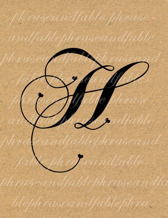 Tipografia clipart clip freeuse Lettera H Cuore 279 Digital Download Alfabeto iniziale Nome ... clip freeuse