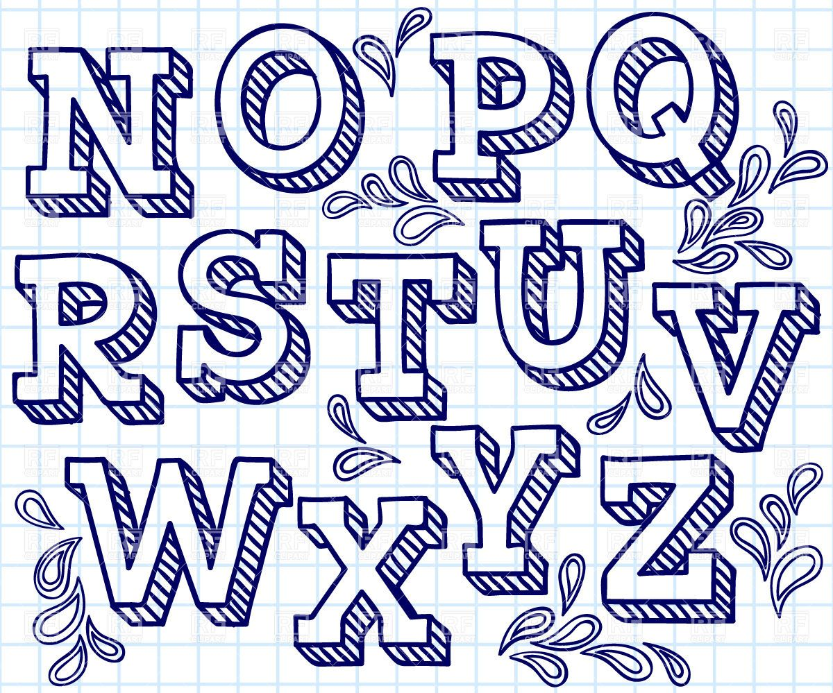 Tipografia clipart vector transparent download Hand drawn font - shaded letters and decorations Stock ... vector transparent download