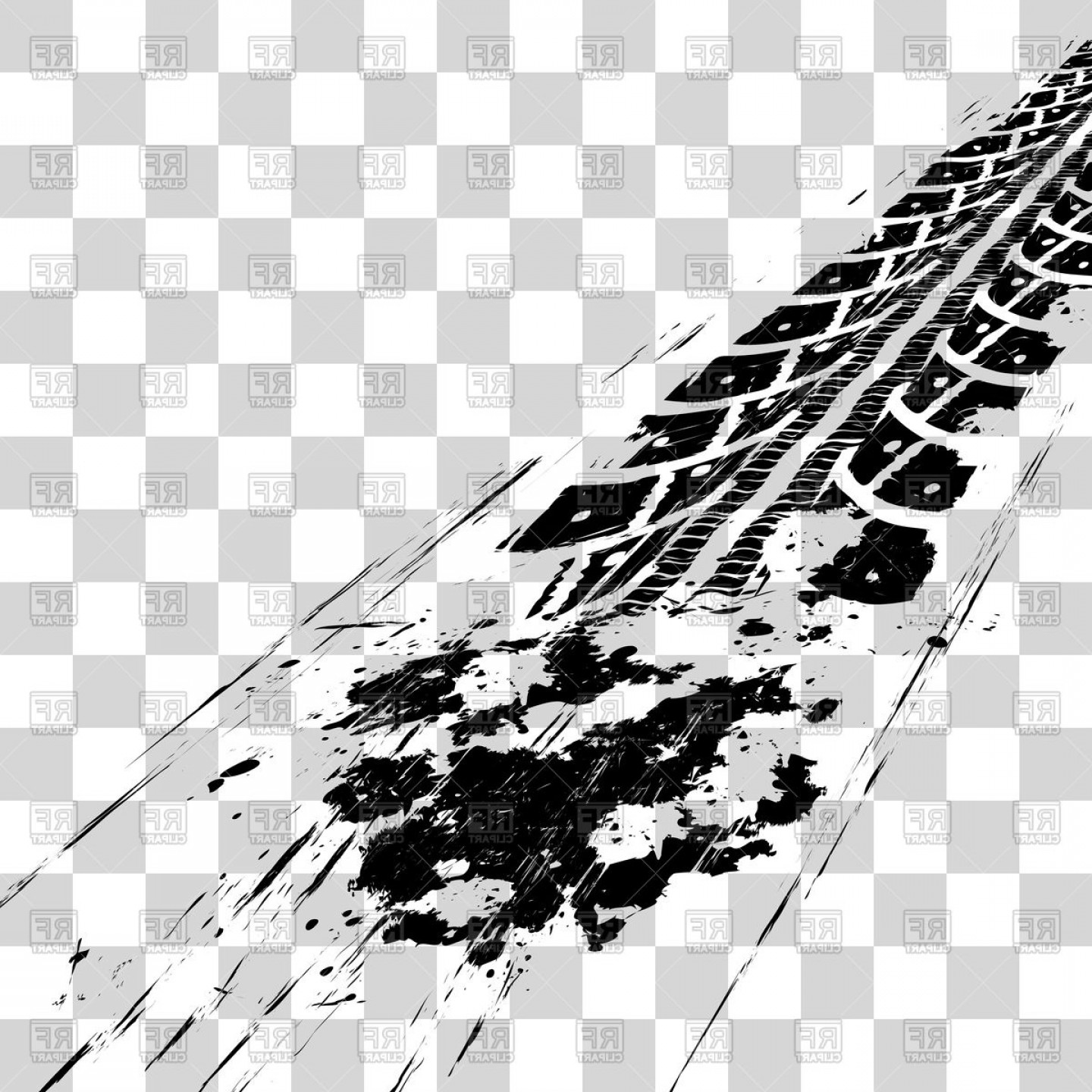 Tire track clipart vector free picture black and white Tire Tracks On Checkered Background Vector Clipart | SOIDERGI picture black and white