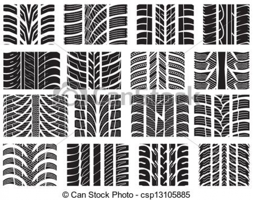 Tire tread patterns clipart graphic stock vector of car tyre set of various tyre treads csp13105885 HD ... graphic stock